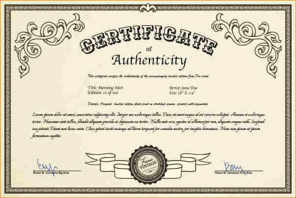 Certificate Of Authenticity Template Simple Kentchurch Butlers Initials And